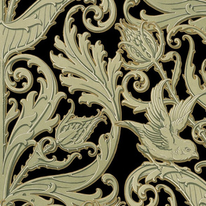 Thistleloch Manor ~ Antique Gilt on Black