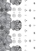 Floral Skull Border Print