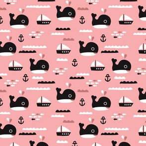 Cute pink ocean whale and deep sea sailing boat and anchor fish theme illustration print XS