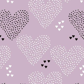 I love you sweet scandinavian style graphic hearts illustration print in violet