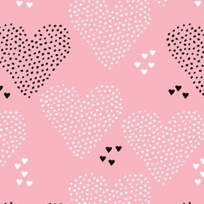 I love you sweet scandinavian style graphic hearts illustration print in pink