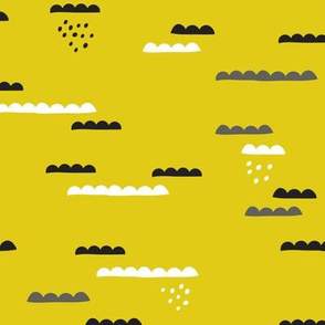Abstract geometric organic clouds and rain sleepy sky illustration in scandinavian style black gray and lime mustard yellow