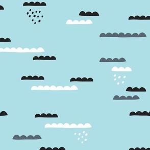 Abstract geometric organic clouds and rain sleepy sky illustration in scandinavian style black gray and pastel powder blue
