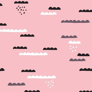 Abstract geometric organic clouds and rain sleepy sky illustration in scandinavian style black gray and pink