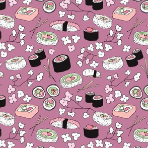 Violet Japanese cherry blossom doodle sushi dinner delicious food illustration pattern