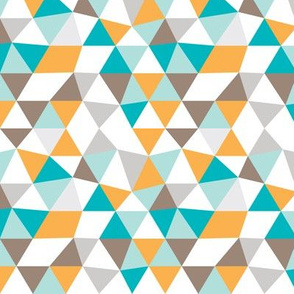 Pastel modern geometric triangle pattern in orange blue and soft gray