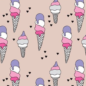 Hot summer colorful violet pink neutral ice cream cone popsicle summer design print for kids
