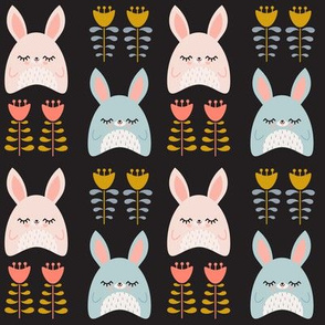 Bunnies & Tulips Black