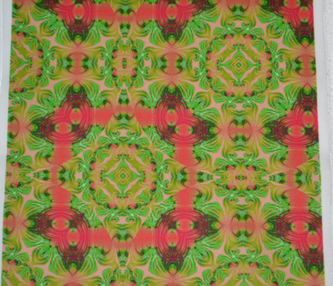 Vivid Coral and mintgreens swirl