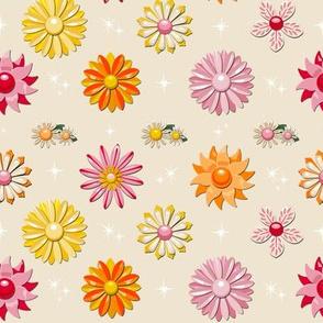 Jackie (Pink/Orange/Red) || flower floral garden vintage 60s 70s enamel brooch pin vector illustration skirt star starburst atomic summer spring