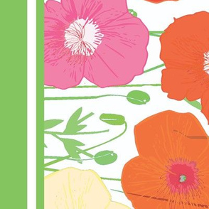 Poppies in bloom border print