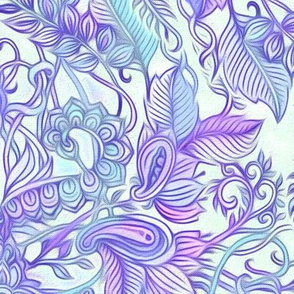 Purple, Blue & Cream Art Nouveau Pattern