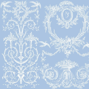Capetian Toile white on blueberry