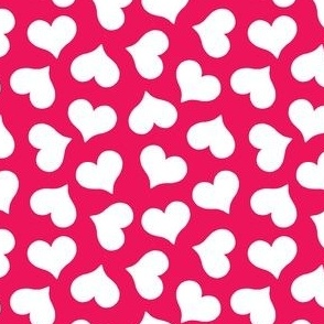 white hearts on dark pink