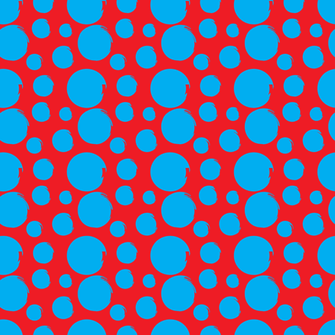 blue polka dots on red