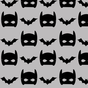 grey bat and superhero bat mask design in trendy  minimal greyscale