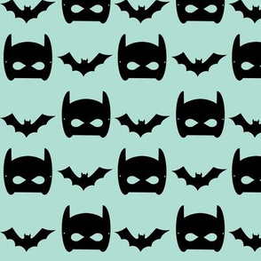 mint bat and black bat mask superhero design in mint