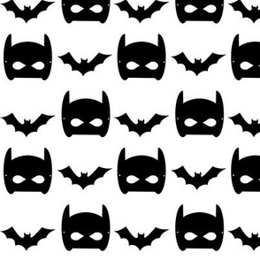 black bat and superhero bat mask design in minimal trendy black and white kids style