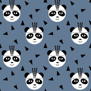 panda with feathers tri triangle hipster southwest design for baby and kids leggings