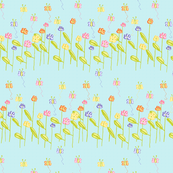 Fluttering Among the Flowers - Blue