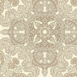 Folk Art Pattern in Neutrals - Tan, Beige & Cream