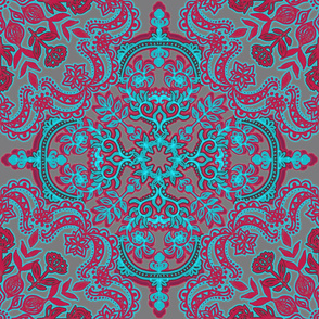 Folk Art Pattern in Cherry Red & Turquoise on Grey
