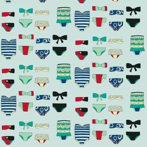 swimsuits - blues and greens