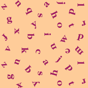 alphabet in peach and raspberry