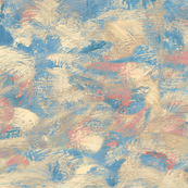 abstract paint swirls - teal and coral
