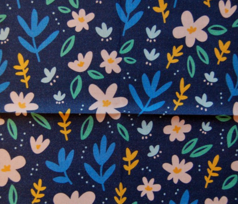 Colorful flowers on deep blue background