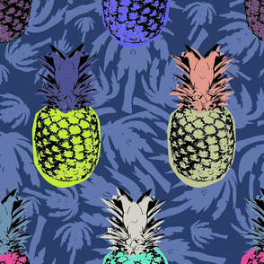 Pineapples on palm blue