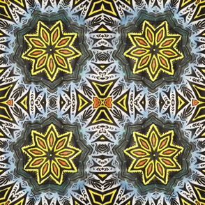 Yellow-flower geometric pattern