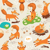 cartoon foxes in sunny forest