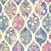 Patterned & Painted Floral Ogee in Vintage Tones