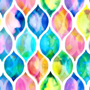 Radiant Rainbow Watercolor Ogee Pattern