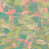abstract paint swirls - olive, pink and teal