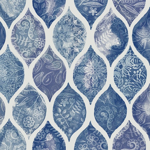 Denim Blues Doodle Decorated Watercolor Ogee Pattern