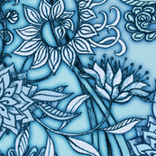 Hand Drawn Botanical Moroccan in Blue