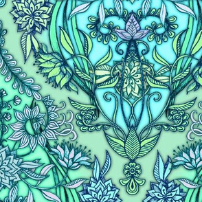 Blue, Lime & Mint Green Botanical Moroccan