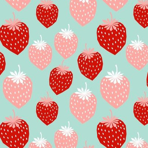 strawberries pink and red mint cute summer fruit print