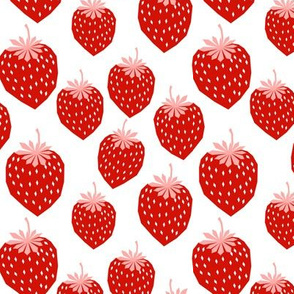 strawberry red pink summer fruit print