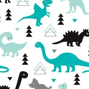 Adorable boys fabric with black and blue dinosaur geometric triangles and funky animal illustration theme for kids