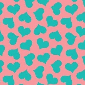 dark mint hearts on pink