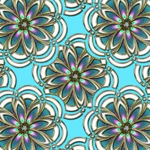 Aqua and Gilt Fractal Flowers