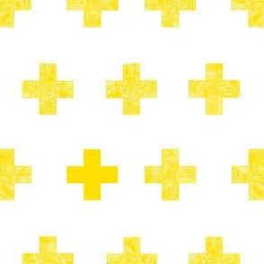 yellow crosses on white