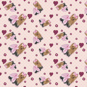 Yorkie Savannah Pink Hearts