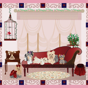 Yorkies Victorian Room Panel 4- pillow fronts