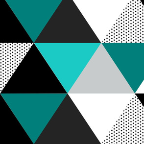 Turquoise Dot Triangle Cheater Quilt - Baby Blanket