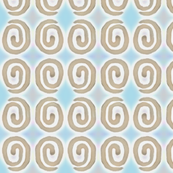 block print 8 - spiral- beige and blue