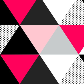 Hot Pink Dot Triangle Cheater Quilt - Baby Blanket